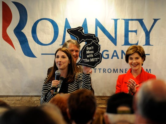 "Michigan Republican National Committeewoman Ronna Romney McDaniel, seen in this 2012 file photo, sent an email Monday to supporters commemorating the federal holiday honoring the life of the late civil rights leader. Romney McDaniel backtracked from a claim that her grandfather ""marched side by side"" with Martin Luther King Jr. — an assertion that got her uncle in hot water during his first bid for the White House — when The Detroit News asked her to elaborate. ""My grandfather stood side by side with King's movement. He marched with the NAACP,"" Romney McDaniel wrote in an email to The News. ""They never marched in the same march. But my grandfather was a strong supporter of the civil rights movement and I am proud of our family's history. I am sorry I didn't make that clearer."""