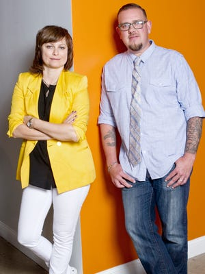 """Jenny Feterovich and Gary Bredow of the """"Start Up"""" TV show in their Corktown office in Detroit."""