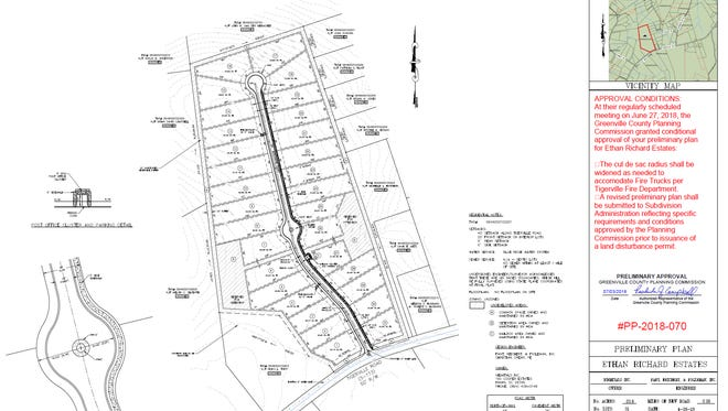 The Greenville County Planning Commission rejected this 31-house subdivision in the rural Slater-Marietta area on Wednesday, July 25, 2018, on the grounds that the lots were too small.