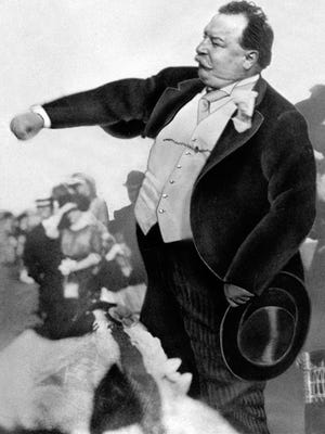In this 1912 photo, President William Howard Taft is seen throwing out the first ball on opening day for baseball, to start the season for the Washington Senators in Washington.