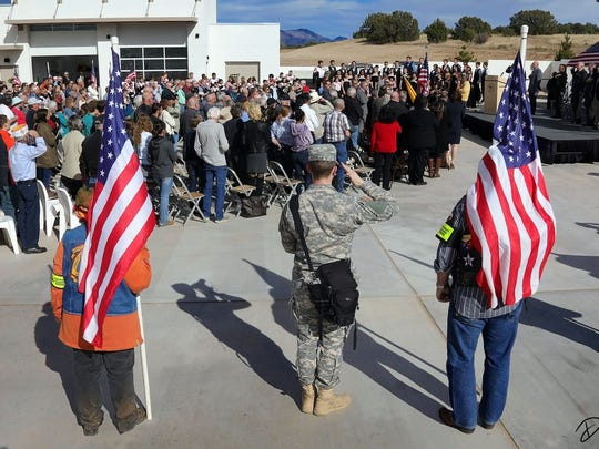 A large crowd attended the opening of New Mexico's newest state veterans cemetery at Fort Stanton Monday.