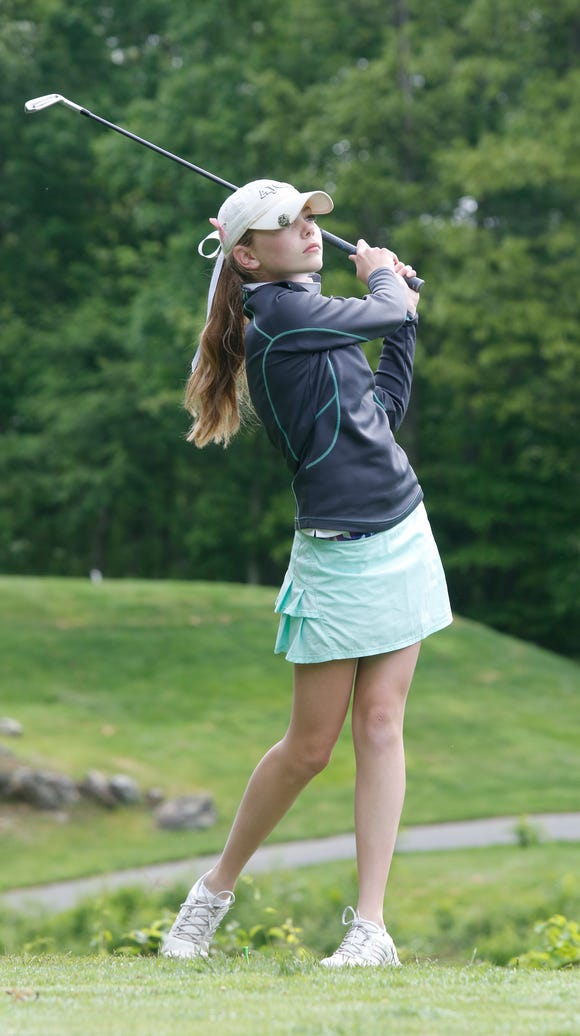 Ursuline's Alice Hodge at the 3rd tee during the Section