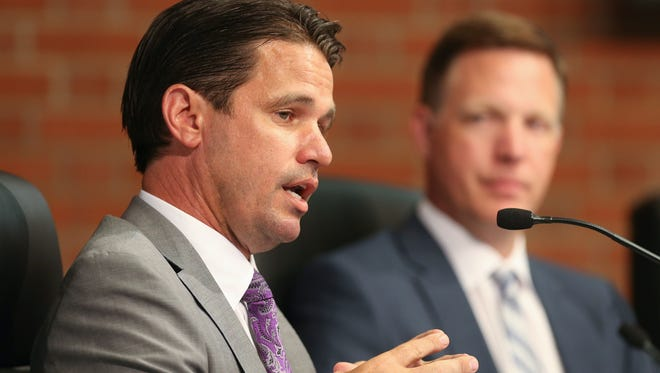 Marty Pollio presides over his first school board meeting as the Acting Superintendent.July 26, 2017