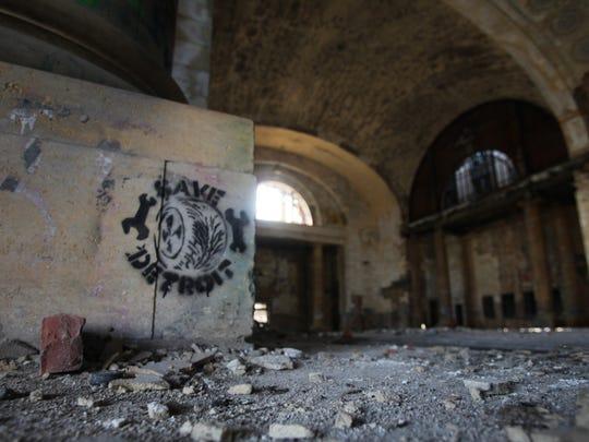 Graffiti marks the walls of he Michigan Central Train