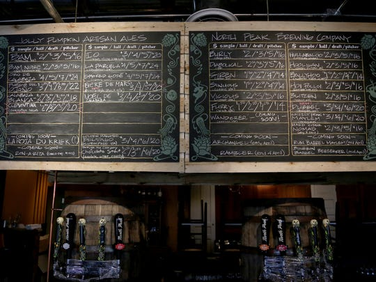 A list of various beers from the Jolly Pumpkin line