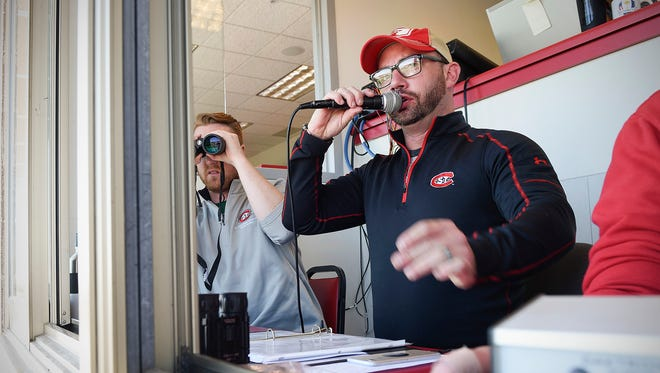 Announcer Chad O'Brien calls his first St. Cloud State football game against  Minnesota-Crookston Saturday, Oct. 7, at Husky Stadium.
