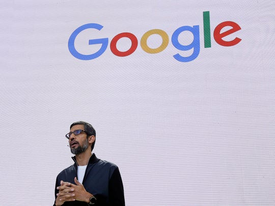 FILE - In this file photo dated May 17, 2017, file photo, Google CEO Sundar Pichai delivers the keynote address for the Google I/O conference in Mountain View, Calif. Pichai has canceled an internal town hall meant to address gender discrimination on Thursday, Aug. 10, after employee questions for management began to leak online from the company's internal messaging service. (AP Photo/Eric Risberg, File)