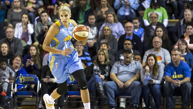 Chicago's Elena Delle Donne drives up the court in the first half of Chicago's 93-59 win over the New York Liberty at the Carpenter Center in May.