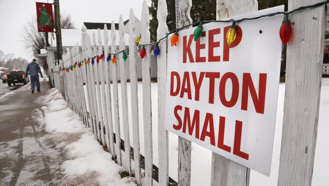 Keep Dayton Small sign posted just east of the Post Office Monday, January 8, 2018, in Dayton.