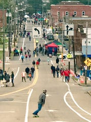 Busy Sevier Avenue becomes a pedestrian walkway bordered by fun-filled booths and entertainment.