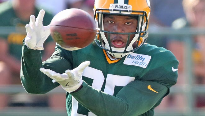 Green Bay Packers defensive back Marwin Evans does a drill during training camp July 31, 2017.
