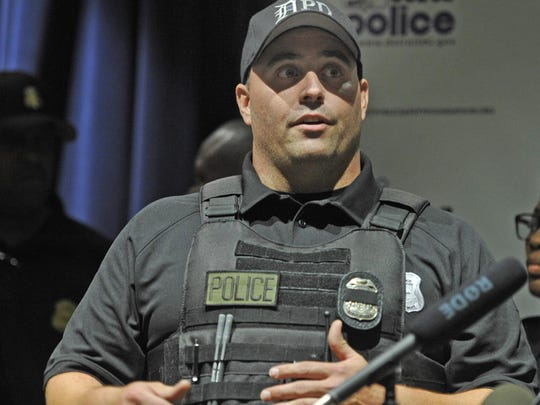 Detroit Police Officer John Siejutt, one of the officers who tested the body cam, talked about the new body cams and video in the squad cars for police officers during a press conference Tuesday at Detroit Police headquarters.