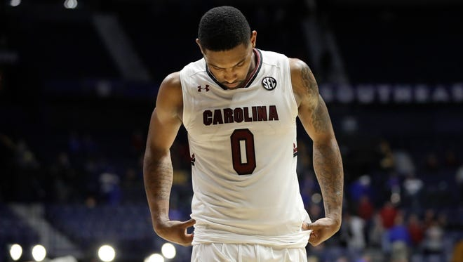 South Carolina guard Sindarius Thornwell leaves the court after South Carolina lost 64-53 to Alabama in an NCAA college basketball game at the Southeastern Conference tournament Friday, March 10, 2017, in Nashville, Tenn.