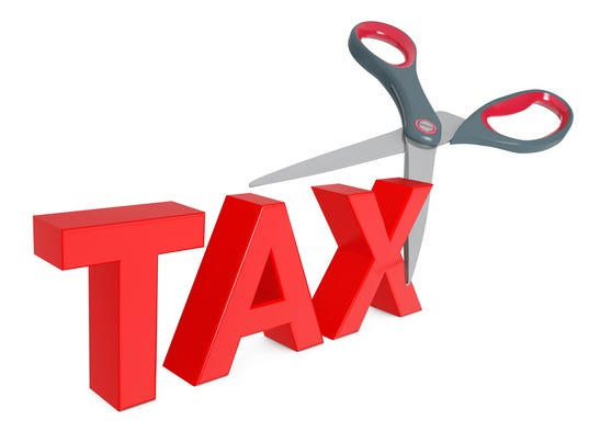 Cutting Tax Sign with Scissors. 3d Rendering