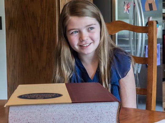 Lakeview Middle School seventh grader Leila Overbeek talks about spelling bees two years ago. Overbeek won first place at regionals in 2016 and will return to the Scripps National Spelling Bee later this month.