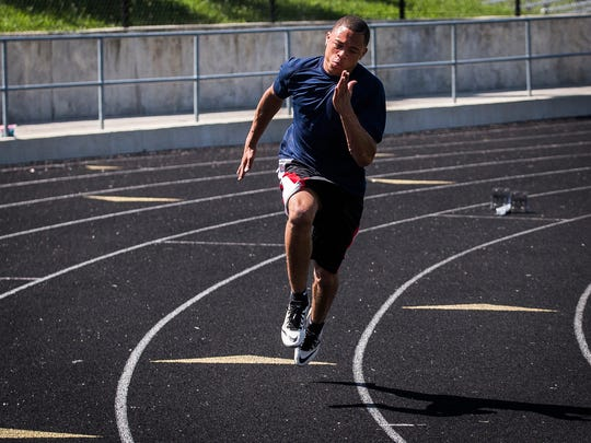 Central's Eliseus Young works on his acceleration while