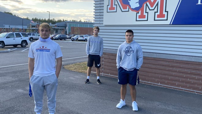 North Middlesex football players-turned-cross-country runners, from left, Mark Thomas, Aidan Gallagher and Joey Doroski.