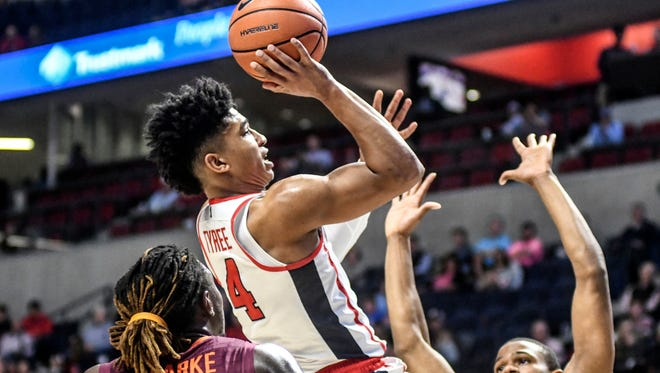 Breein Tyree (14) scored 14 points but that wasn't enough in Ole Miss' 83-80 loss to Virginia Tech.