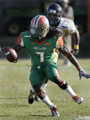 FAMU's kick return specialist LeRoy Vann returned a punt for a touchdown in the second half to set a Rattler record. The Florida A and M Rattlers beat the North Carolina A and T Aggies 31-27 on Saturday, November 7, 2009.