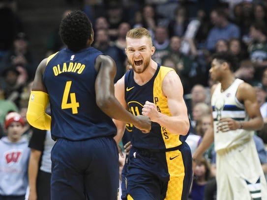 Indiana Pacers center Domantas Sabonis (11) reacts