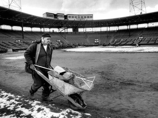Dick Sierens, prepares the field at Silver Stadium for the Red Wings 1990 opener. Sierens, who worked for the team for 51 years, died on Tuesday.