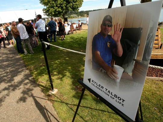 A large crowd gathered Wednesday in Silverdale to memorialize Kyler Talbot, a business owner and world-champion offshore speedboat racer.