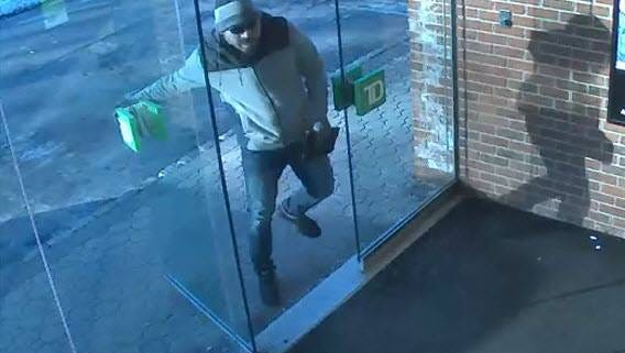 Surveillance photo of the man suspected of robbing a TD Bank branch in Fort Lee on Monday.