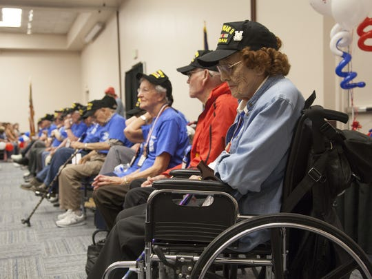 Audrey Wells was among many veterans who returned from the Honor Flight to a warm welcome from family and community members at the Dixie Convention Center June 6.