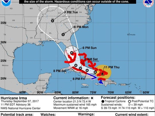 The official track for Hurricane Irma as of 11 p.m. Thursday.
