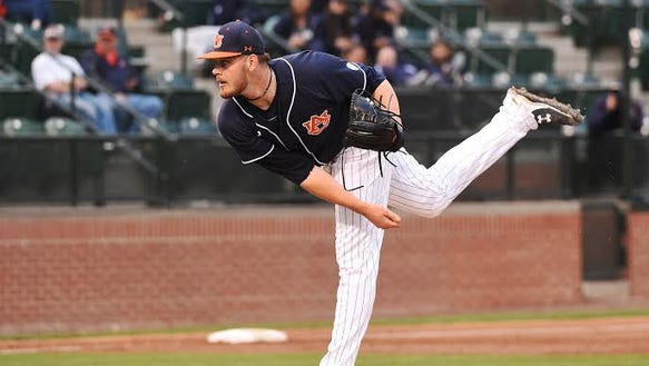 Auburn junior pitcher Gabe Klobosits gets his first