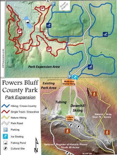 Plans for the expansion at Powers Bluff County Park