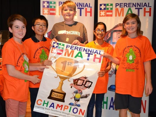 7th grade team Perennial Math Tournament first place winners are, from left,Alex Johanssen, Peter Lin,Pierson Hendricks,Nira Goyal, andIan Wilson.
