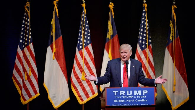 Donald Trump speaks during a campaign event at the Duke Energy Center for the Performing Arts on July 5, 2016, in Raleigh, N.C.