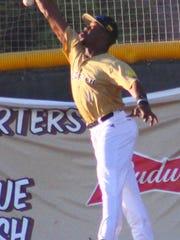 White Sands left fielder Matt Marino attempts to catch