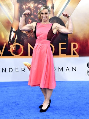 Jessie Graff poses at the 'Wonder Woman' premiere, because she's a superhero IRL.