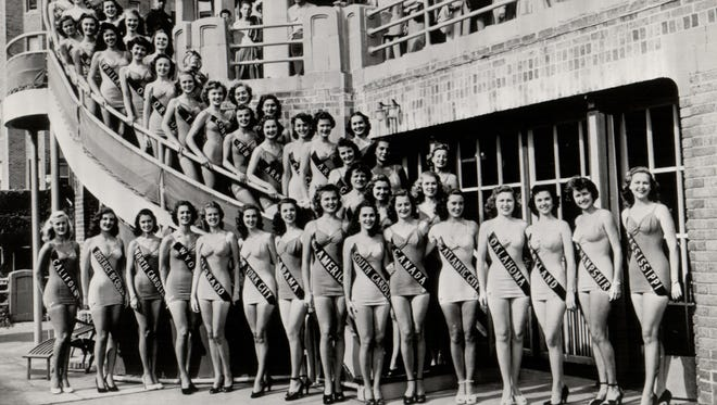 Miss America Aspirants: Forty-two of the 52 candidates for Miss America 1949 pose at Atlantic City's Hotel Traymore as the annual Beauty Pageant gets under way.