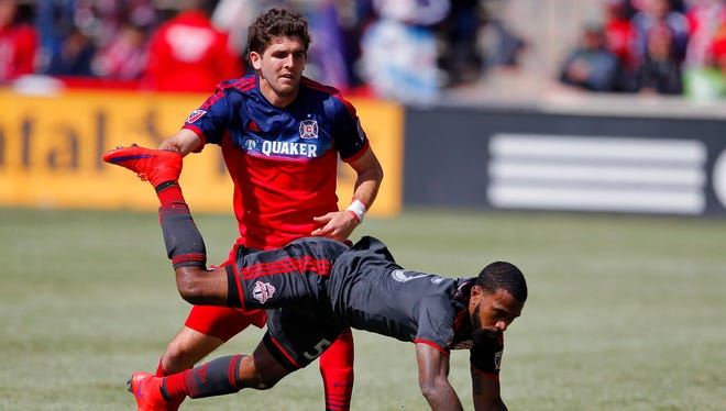 Chicago Fire midfielder Chris Ritter and Toronto FC forward Robbie Findley fight for the ball at Toyota Park.