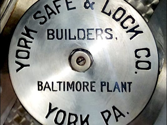 Makers Plate attached to the vault door within former Citizens Bank in Smyrna, Delaware; a building now owned by Centerpoint Church of Delaware (Photo submitted by Chris Brown)