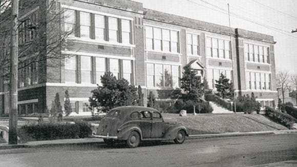 It was Dallastown High School here; today it is Dallastown Elementary School. It was built as a four-room high school in 1913 and expanded after that. This Charles Street School closed as a secondary school in 1959 when Dallastown Area High School went up.