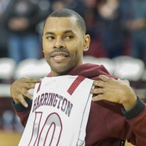 NMSU honors former Aggie Shawn Harrington at halftime of Saturday's game