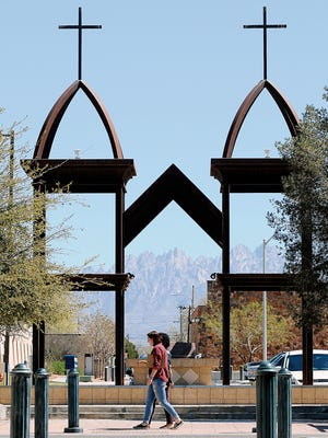 St. Genevieve Monument on the site of a future civic plaza in downtown Las Cruces.