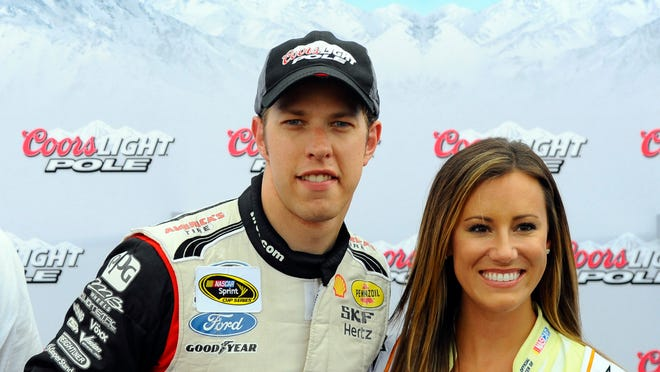 NASCAR Sprint Cup Series driver Brad Keselowski (2) after winning the pole during qualifying for the Quaker State 400 at Kentucky Speedway.