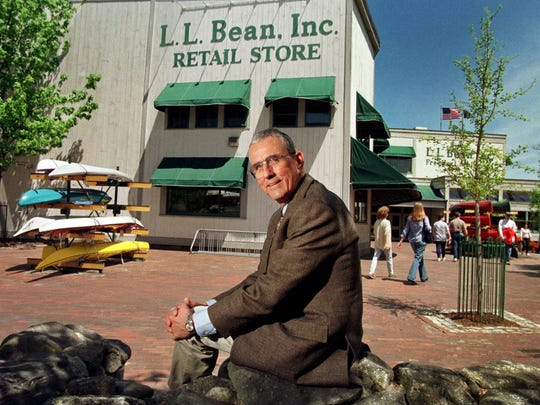 Leon A. Gorman sits outside one of the company's stores
