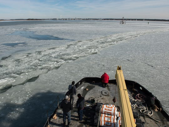 A view of the J. Millard Tawes from the bow of the boat as it cuts through ice on its way towards Crisfield.