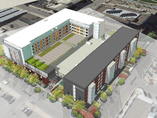 City Square Lofts, 210 E. Walnut St., includes 124 apartment units. The Hansen Real Estate Services project is part of the larger $49 million City Square project that includes a 120-room Staybridge Suites and a 317-stall parking garage.