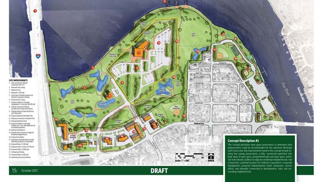 The city of Oshkosh unveiled two design options for Oshkosh Corp. utilizing about 35 acres of land at Lakeshore Municipal golf course for the company's new global headquarters.