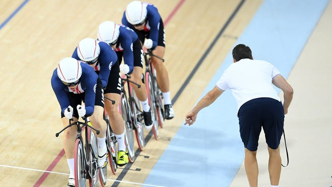 Sarah Hammer, Kelly Catlin, Chloe Dygert and Jennifer Valente of the United States compete in the Women's Team Pursuit Track Cycling Qualifying on Day 6 of the 2016 Rio Olympics at Rio Olympic Velodrome on August 11, 2016 in Rio de Janeiro, Brazil.