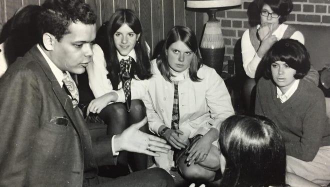 Julian Bond speaks with Nazareth College students Dec. 4, 1968.