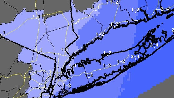Projected inches of snowfall on Tuesday, March 25, 2014, as seen on a National Weather Service map.