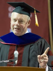 Moments after Starbucks CEO Kevin Johnson  receives a New Mexico State University honorary degree on Friday, May 12, 2017, he addressed the graduates during the Doctoral Hooding Ceremony at the Pan American Center in Las Cruces, New Mexico. Johnson attended NMSU from 1978 to 1981.